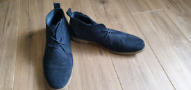 Front blue suede desert boots, size 13