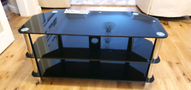 Black glass TV stand corner unit
