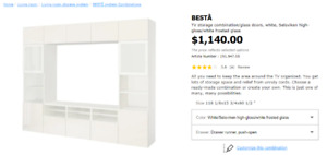 Almost New IKEA BESTÅ TV storage combination & UPPLEVA Bracket