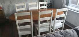 6/8 seater dining table and 6 chairs