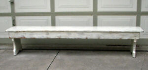 1 OF A KIND - VINTAGE SHABBY CHIC LONG WOOD INDOOR BENCH -