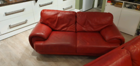 Red Leather 4 seater and 3 seater sofa
