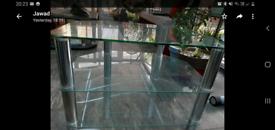 Glass corner tv trolley