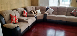 Sectional sofa w/recliner. Perfect condition
