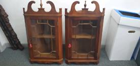Pair of mahogany corner display cabinets