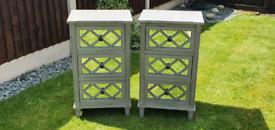 Antique silver/grey Bedside Cabinets