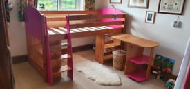 Mid sleeper cabin bed - pull out desk & bookshelves