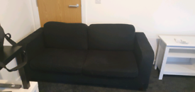 2 2 seater black sofa
