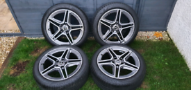 "Genuine Mercedes Benz AMG 18"" 5 Twin Spoke Alloy Wheels Grey"