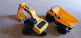 Two CAT trucks JCB diggers