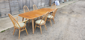 Ercol Windsor Extending Plank Blonde Dining Table & 6 Quaker Chairs