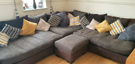 Sectional corner sofa and storage pouffe