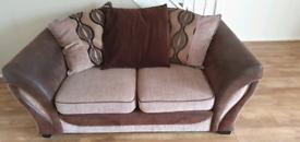 "2 seater Brown Sofa & Round ""love"" Sofa"