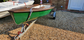 Great 13 Foot GRP & Wood Boat With Road Trailer , sailing, fishing or pleasure dinghy