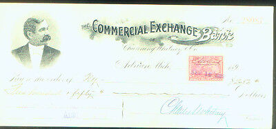 Commercial Exchange Bank Check 1898 Adrian Michigan Channing Whitney Sign   Pict