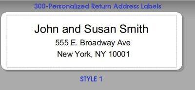 300 -custom Printed Large Center Aligned Return Address Labels 1 X 2-58