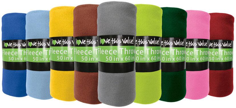 "Fleece Blankets Throw, Wholesale Lot of 24, Bulk 50x60"" Impe"