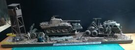 1/35 WW2 DIORAMA CAPTURED GERMAN PANTHER TANK AND DRAGON WAGON.