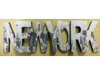 Wooden new York sign