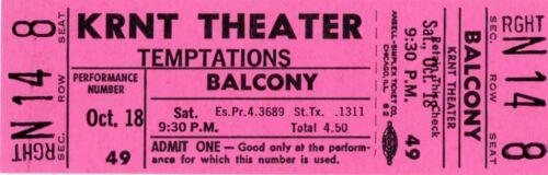 """THE TEMPTATIONS 1969 """"CLOUD NINE"""" TOUR KRNT UNUSED PINK CONCERT TICKET-NM~MINT"""