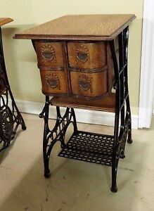 Table re-purposed from White treadle sewing machine table