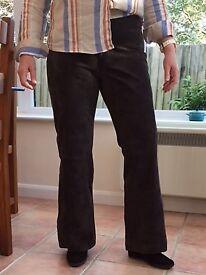 Ladies Designer Suede Leather Trousers (14-16) - dark brown/grey