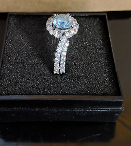 Gorgeous Light Blue and Diamond Moissanite Ring in .925 Silver