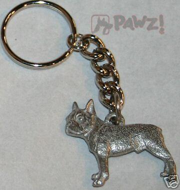 BOSTON TERRIER Dog Fine Pewter Keychain Key Chain Ring