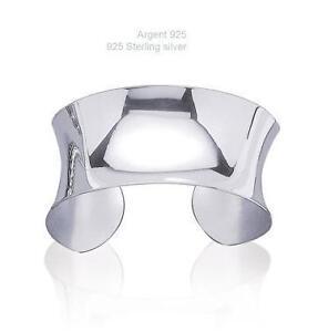 Bracelet jonc esclave polie comme un miroir 60 mm argent - Miroir argent martele ...