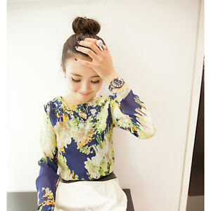 New Round Collar Women Chic Tee Top Shirt Blouse Chiffon Long Sleeve Print Style