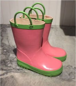 Toddler Girls Kids size 10 rubber rainboots PINK GREEN