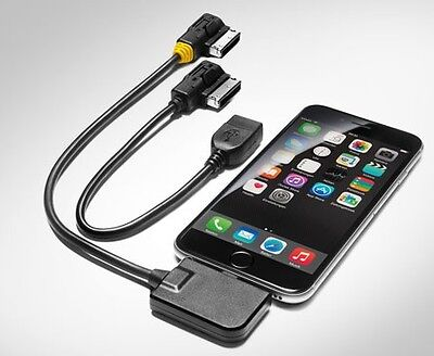 GENUINE AUDI MUSIC INTERFACE AMI MMI 3G+ IPHONE 6 7 LIGHTNING USB CABLE LEAD SET