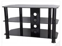60cm Black Glass TV Stand (Black Legs)