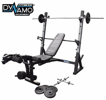 Bench Press / Squat Rack/ 7 Ft Barbell 50kg Weights Package NEW