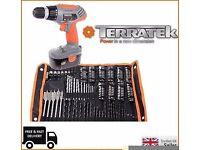 Terratek 18V Cordless DIY power combi Drill driver screwdriver with 150 pcs kit