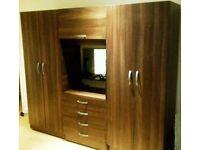 Fully Assembled 4 Door Family Fitment wardrob Set, Mirror Drawer Shelve Rails- Brand New