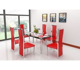 RECTANGULAR CLEAR GLASS AND CHROME DINING TABLE WITH 6 RED CHAIR