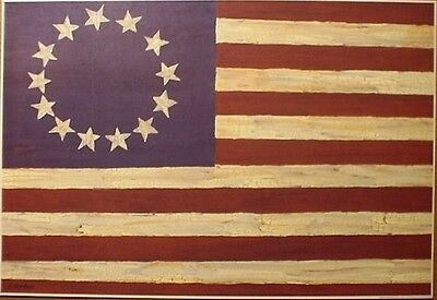 American Folk-flag (art print~AMERICAN FOLK FLAG~Gloria Bowlin~Americana primitive 20x14)