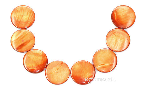 """8 Mother of Pearl Flat Round Coin 25mm Orange 8"""" #75044"""