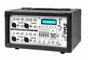 PYLE PMX402M 4-Channel 400 Watt Powered Mixer, AUX (3.5mm) Input, SD Memory Card / USB Flash Drive Readers, LCD Display