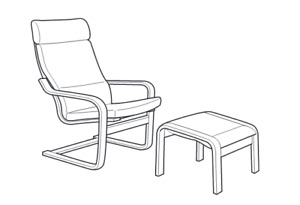 2 IKEA Poang Chair cushion and footstool with cushion