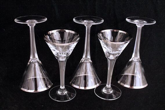"Mid Century Modern Silver Rim Stemmed Crystal Mini Tini Martini 5-5/8"" Set of 5"