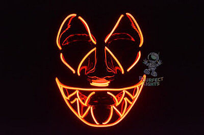 Sharp Tooth Orange Rave Light up El Wire EDC Halloween Costume Pumpkin Mask! - Edc Halloween Costumes
