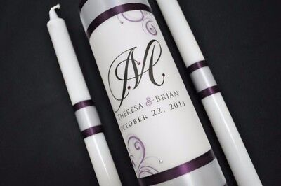 Gray and Purple Wedding Unity candle - Real crystals - Purple - Gray And Purple Wedding