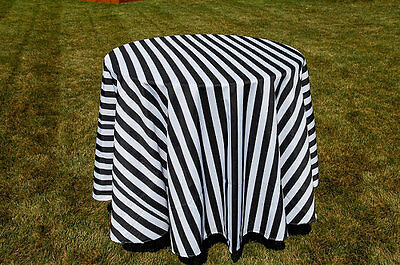 Black and White Stripe 90 inch Round Tablecloth, 1inch Stripe Wedding Decor, - Black And White Wedding Decorations
