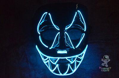 Neon Blue El Wire Jaws Mask EDC Rave Festival Handmade Halloween Costume Mask! - Edc Halloween Costumes