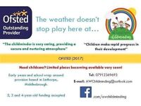 Childcare spaces available