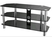 Large black glass and metal tv stand, for television and PlayStation Xbox dvds