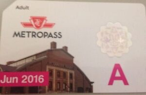 Wanted ---->> June 2016 Adult TTC Metropass Subway Bus Pass