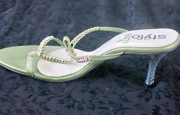 Green occasion sandals- open & heel